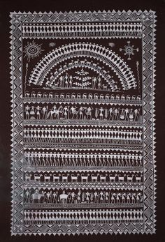 Buy Saura Painting painting online - the original artwork by artist Unknown Artist, exclusively available at Mojarto only. Tribal Pattern Art, Tribal Art, Worli Painting, Mandala Painting, Madhubani Art, Madhubani Painting, Rajasthani Art, Mandala Art Lesson, Indian Folk Art