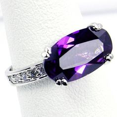 'Royal Glam' Sterling Silver Alexandrite Ring Size 7.75 -