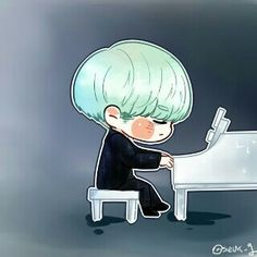 When suga chibi version is playing the piano Bts Suga, Suga Swag, Min Yoongi Bts, Bts Bangtan Boy, Bts Chibi, Namjoon, Taehyung, Jikook, Bts Kawaii