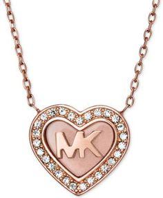 Michael Kors Rose Gold-Tone Pavé Logo Heart Pendant Necklace