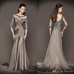 2014 Luxury Chocolate Sheer Scoop Neck Sweep train Long Sleeves Beading Ruched Chiffon Mother of the Bride Dress Formal Gowns Trendy Dresses, Elegant Dresses, Dresses 2016, Dresses Uk, Fall Dresses, Vestidos Marisa, Pantalon Costume, Evening Dresses With Sleeves, Bride Groom Dress