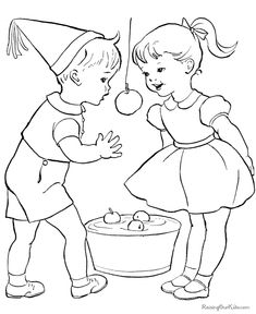 Kids Bobbing For Apples Coloring Page