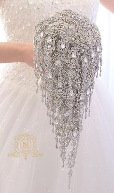 Extra long BROOCH BOUQUET, teardrop cascading silver jeweled, really luxury design for royal wedding style. Wedding Brooch Bouquets, Bride Bouquets, Flower Bouquet Wedding, Purple Bouquets, Bridesmaid Bouquets, Pink Bouquet, Flower Bouquets, Bridesmaids, Bling Wedding
