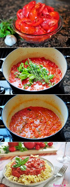 A quick flavorful and delicious homemade pasta sauce! This Fresh Tomato Marinara Sauce is bursting with ripe juicy tomatoes savory garlic and fresh herbs. Save this healthy homemade marinara sauce! Homemade Sauce, Homemade Pasta, Homemade Tomato Juice, Fresh Tomato Marinara Sauce, Fresh Tomato Spaghetti Sauce, Fresh Tomato Sauce Recipe, Quick Spaghetti Sauce, Tomato Sauce For Meatballs, Side Dishes