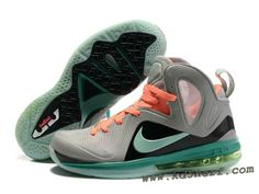 Nike LeBron 9 P.S. Elite Shoes Gray Jade Orange Hot Sneakers Nike 9c63a26382