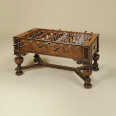 Napoleon Brown and Antique Aubergine Finished Foosball Table, Monkey & Lion Players    Item: 3130-160   Dimensions: 58.0W x 31.0D x 36.0H inches