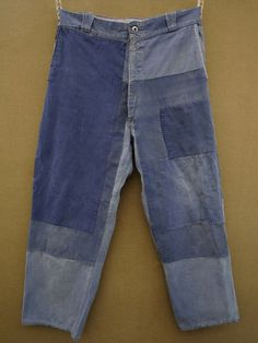 patched trousers Another example of French vintage workwear. Great: I wish I owned this faded and patched workpant.