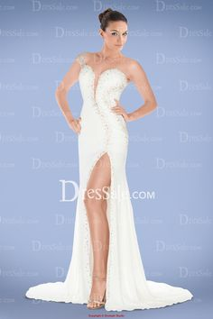 Dramatic One-shoulder White Prom Dress with Beads and Split-front