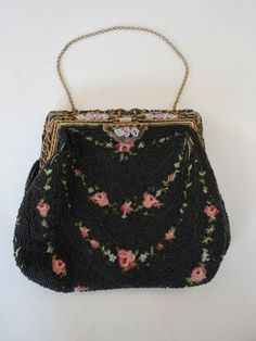French Made in France Micro Bead Enamel & Embroidered Purse