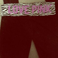 VS PINK yoga pants. Zebra print Boot bottom yoga pant. Condition is about 6-7 on a scale of 10. PINK Victoria's Secret Pants