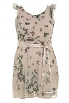 Cream Butterfly Chiffon Floaty Dress
