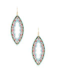 Pink & Blue Oval Drop Earrings
