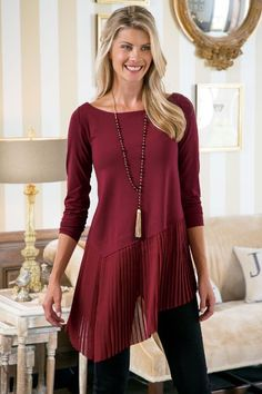 Operetta Top Mixed textures enrich an enviable look in this so-chic top of fine gauge jersey knit, enhanced with a band of laser-cut, knife-pleated chiffon swaying at the asy