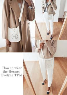 Hermes Evelyne TPM Review. How to wear the Hermes Evelyne. How to style Hermes Evelyne mini. Classic outfits. Workwear outfits. Hermes Evelyn Bag, Hermes Bags, Hermes Handbags, Hermes Scarves, Designer Handbags, Pink Handbags, Vintage Handbags, Hermes Belt Outfit, Shades Of Beige