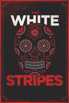 White Stripes Skull Poster
