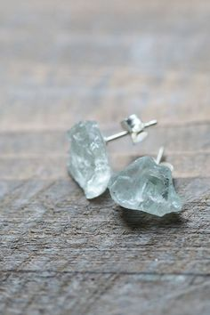 Raw Aquamarine Studs Blue Earrings Raw Crystal by AmuletteJewelry