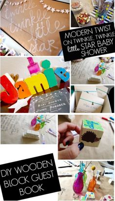 Modern twist on twinkle twinkle little star baby shower... love the make a wish bracelets and the wooden block guest book idea!