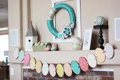 Easter Mantel - I don't have a mantel but I could do this with a long shelf!
