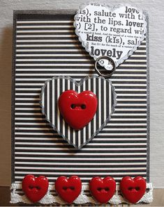 I really like the newsprint feel of this black & white stripes w/ red for valentine ideas Atc Cards, Card Tags, Valentine Love Cards, Valentines, Valentine Ideas, Valentine Decorations, Scrapbooking, Scrapbook Cards, Copic