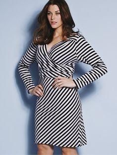 So Fabulous Stripe Wrap Jersey Dress Plus size    $41.00