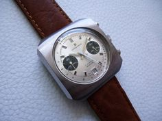 "Rare Vintage Steel JUNGHANS ""Panda"" Chronograph Men's watch from 1970's years! 