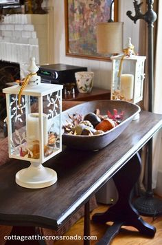 Sofa Table Decor | sofa table with lanterns and dough tray