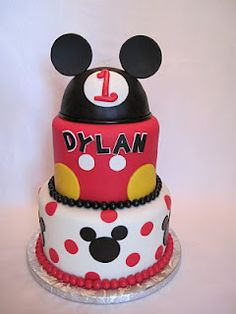Mickey Mouse Cake @Katie Tommins  Maybe just 2 tiers or something...depending on how much you'd need :)