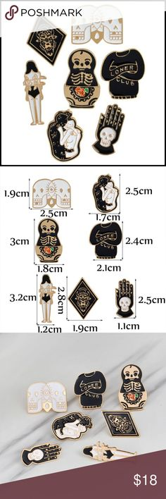 7pc Gold Metal Lapel Pin Set BNWOT - 7 piece set // tags: dark horror skull alternative golds color black enamel skulls skeletons skeletons creep spooky creepy rockabilly vintage style pins brooch brooches sets gothic lot pieces multi multiple cool rad wicked neat badass biker white love hand statement statements amazing awesome incredible deal loner club jacket bag girl girls unisex unique spook creeper odd oddities oddity accessories accessorize jewelry bison devil evil eye monster rose…
