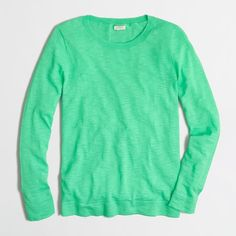 J.Crew Factory teddie sweater featuring polyvore, fashion, clothing, tops, sweaters, shirts, long sleeve shirts, longsleeve shirts, green sweater, green top and long sleeve tops