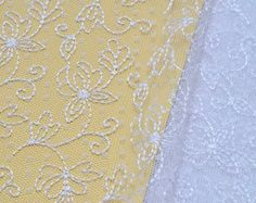 White Lace Fabric, Bridal, Wedding Dress, Tulle, Embroidered  White Flowers, Venice Lace Fabric