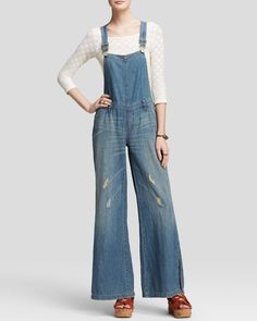 Free People Overalls - Washed Chambray