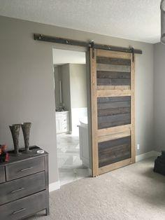 HIS & HER HOME multi grey stain sliding barn door #barndoor #slidingbarndoor #ensuite #bathroom #masterbedroom