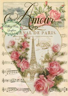 Paris Amour vintage San Valentín grande por CottageRoseGraphics
