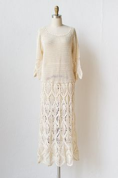 vintage 1970s crochet drop waist dress Vintage Clothing Online, Online Clothing Stores, Lace Gowns, Lace Dress, 70s Fashion, Vintage Fashion, Vintage Crochet Dresses, 70s Style, Dress Suits