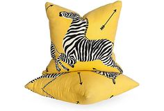 yellow zebra pillows