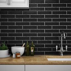Mileto Olive Gloss Ceramic Wall Tile - 75 x Medium Image Ceramic Tile Bathrooms, Ceramic Wall Tiles, Ceramic Decor, Brick Tiles Kitchen, Cream Gloss Kitchen, Gray Tile Backsplash, Kitchen Backsplash, Kitchen Reno, Black Wall Tiles