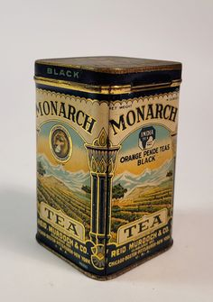 1923 Antique MONARCH BLACK TEA TIN with Original Tea, Lion Graphic, Orange Pekoe 100% Guaranteed Old and Authentic - NO REPRODUCTIONS Approx. Size(inches): 2.5 x 2.5 x 4.5 Approx. Age: 1920's (Copyrighted 1923) Condition: Good, see photos Company: Reid, Murdoch & Co. Beautiful, Monarch Black Tea Tin produced by Reid, Murdoch and Co. during the early 1920's. This tin contains the original, opened, but nearly full package of loose leaf orange pekoe tea inside. The piece has a beautiful litho Tin Can Art, Tin Art, Vintage Packaging, Tea Packaging, Orange Pekoe Tea, Tea Container, Tea Tins, Vintage Tins, Tin Boxes