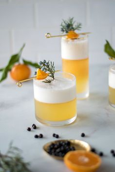 Juniper + Tangerine Gin Fizz — All Purpose Flour Child Mixed Drinks, Fun Drinks, Yummy Drinks, Beverages, Tangerine Juice, Pina Colada, Non Alcoholic, Clean Eating Snacks, Food Photography