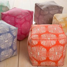 overstock poufs..too girly for playroom? which color? matching?