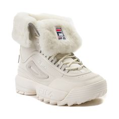 Women's Athletic Shoes - - Womens Fila Disruptor Shearling Athletic Shoe - Beige - 452060 Converse Unisex Chuck Taylor Classic All Star Lo OX Hi Tops Canvas Trainers New. Tenis Vans, Fila Disruptors, Shearling Boots, Womens Shoes Wedges, Girls Shoes, Ladies Shoes, Cute Shoes, Comfortable Shoes, Women's Shoes Sandals