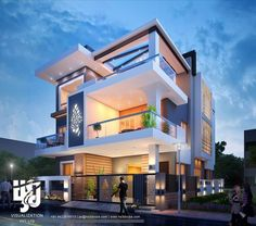 21 Impressive Modern Two Storey Exterior Renders for Inspiration - House And Decors Modern Exterior House Designs, Modern House Facades, Modern House Plans, Modern House Design, Bungalow House Design, House Front Design, Architecture Design, Modern Bungalow, House Elevation