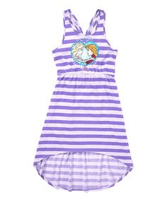 Look at this Frozen Elsa & Anna Lilac Stripe Hi-Low Dress - Girls on #zulily today!