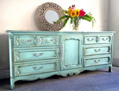 blue green painted dresser - painted furniture