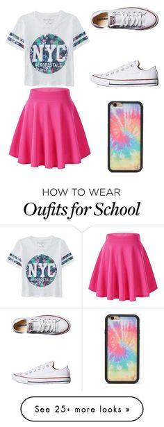 """School"" by skylar177 on Polyvore featuring Aéropostale, Converse, Wildflower, women's clothing, women's fashion, women, female, woman, misses and juniors"