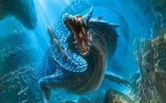 Water Dragon Monster hunter world wallpaper Elemental dragons Fantasy dragon