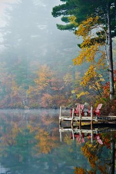 New England Fall(reflection&serenity). by Man Ching Cheung on Peaceful Places, Beautiful Places, Beautiful Pictures, New England Fall, All Nature, Autumn Nature, Cabins In The Woods, Lake Life, Belle Photo