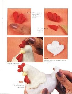 Image search result for the query hen gumpaste figures Polymer Clay Animals, Fimo Clay, Polymer Clay Crafts, Chicken Crafts, Clay Birds, Fondant Tutorial, Fondant Bow, Fondant Flowers, Fondant Cakes