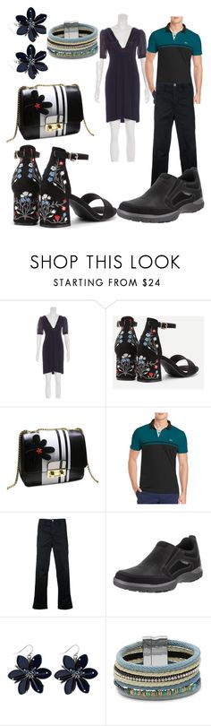 """couples outfit for contest"" by aqualyra ❤ liked on Polyvore featuring Versace, Lacoste, Factotum, Rockport, Design Lab and classic"