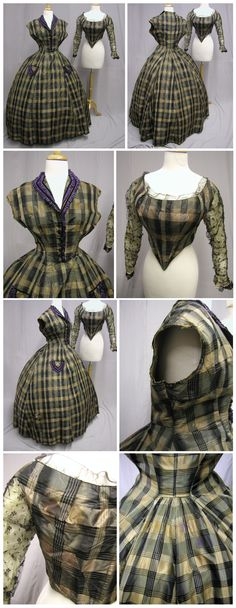 1860's Silk Plaid Civil War Dress  Bodice Brown/Gray/Black. Originally created in the 1850's and recreated in the 1860's. Ebay:svpmeow1