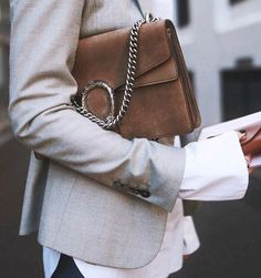 details. tailored blazer. grey, silver + brown.
